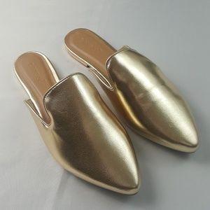 BAMBOO Gold Mules Flats size 8.5 US